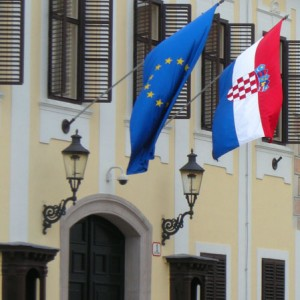 Croatia and EU flags