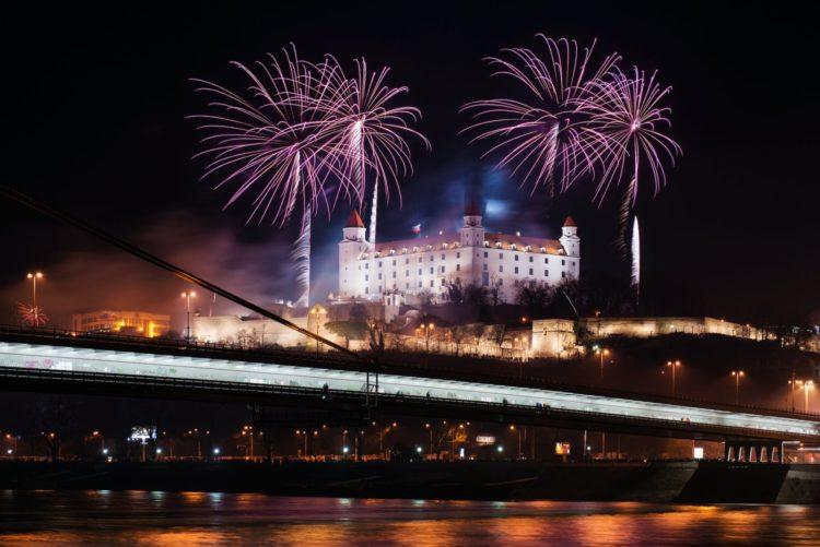 Celebration of New Year in Bratislava, Slovakia