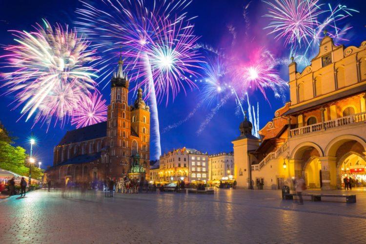 New Years firework display in Krakow