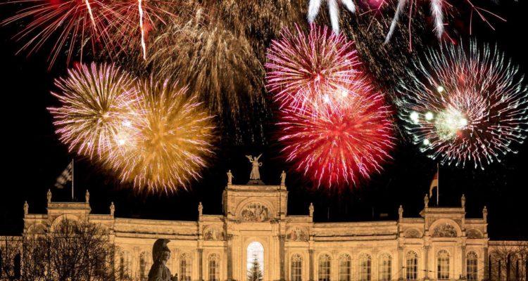 Firework display above the bavarian parliament in Munich