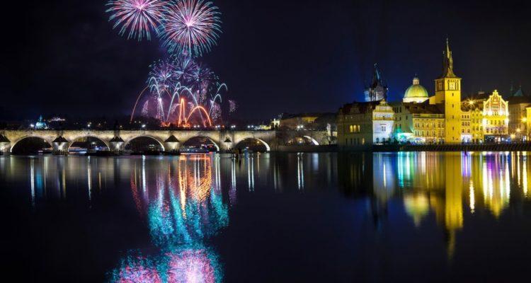 New year Fireworks in Prague, Czech Republic