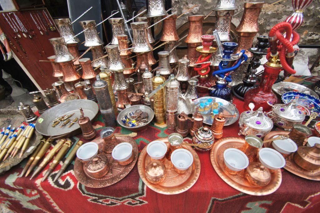 Bosnian coffee pots for sale in the bazaar