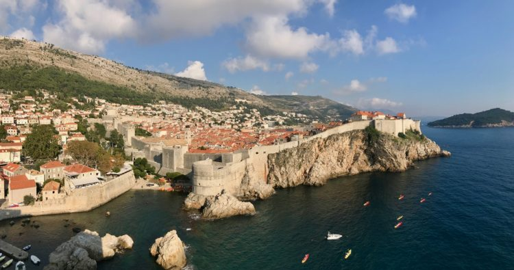 Dubrovnik city walls view from fort lovrijenac