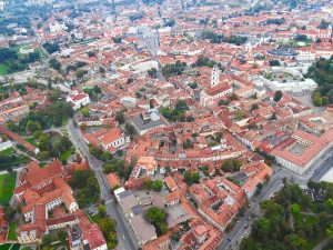 Vilnius Old Town from a hot air balloon