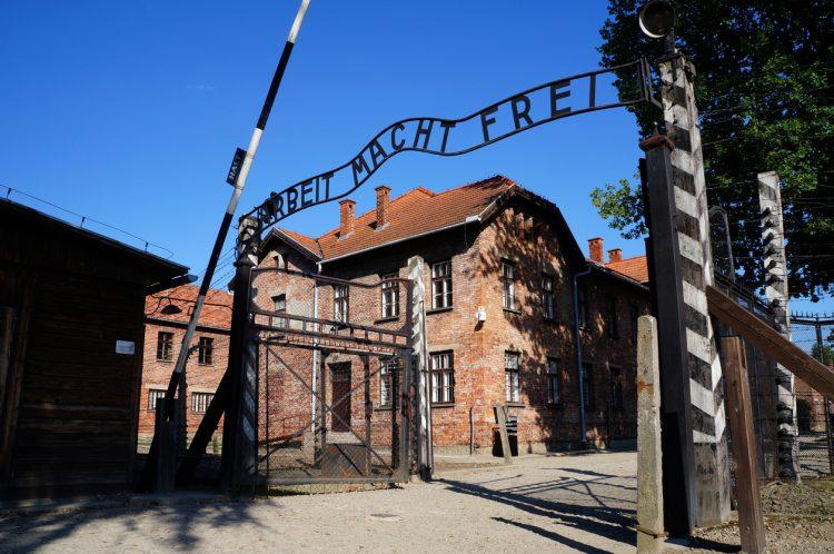 Gates to Auschwitz Birkenau Concentration Camp