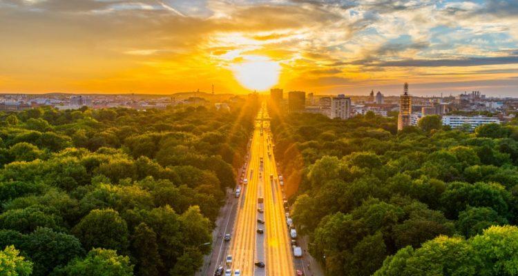 berlin aerial view of tiergarten park in victory column