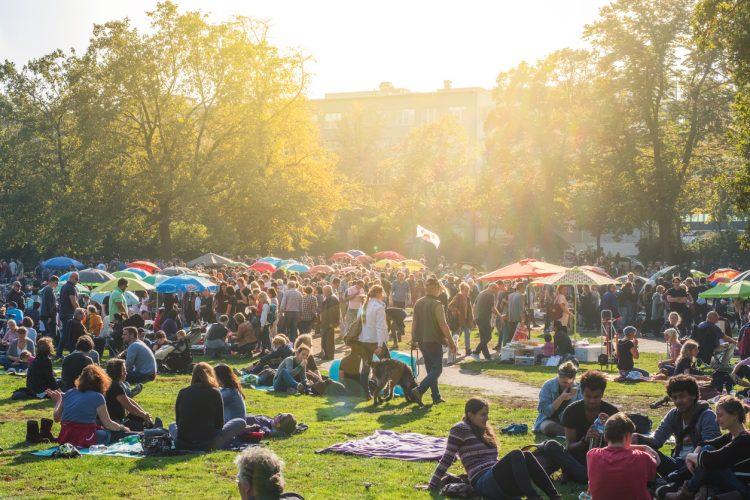 Thai food market / street food in public park (Preussenpark) in Berlin