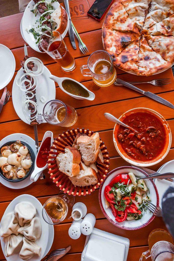 A spread of Georgian food