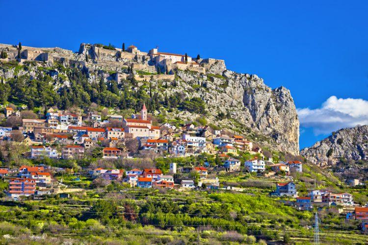 Town and fortress of Klis near Split view, Dalmatia region of Croatia