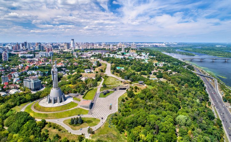 Aerial view of the Motherland Monument and Pechersk Lavra in Kiev, the capital of Ukraine