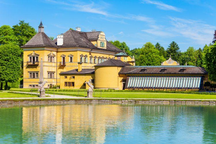 Hellbrunn Palace or Schloss Hellbrunn in Salzburg, Austria. Hellbrunn Palace is an early Baroque villa of palatial size in a southern district of the Salzburg city.