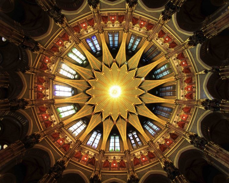 Parliament Building's Vaulted Dome Ceiling
