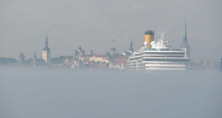 Tallinn's skyline, framed by fog