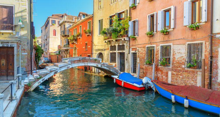 View of Canal Rio di san Falice and bridge Ponte Chiodo. Venice. Italy