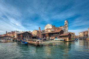Venice, Italy - 01/04/2017: Gondola yard Squero di San Trovaso on sunny day