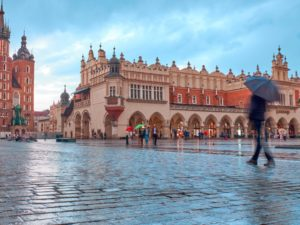 Krakow in the rain