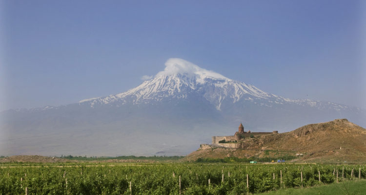 A historical view of the mountain Ararat from Armenia, monastery Khor Virap and vineyards