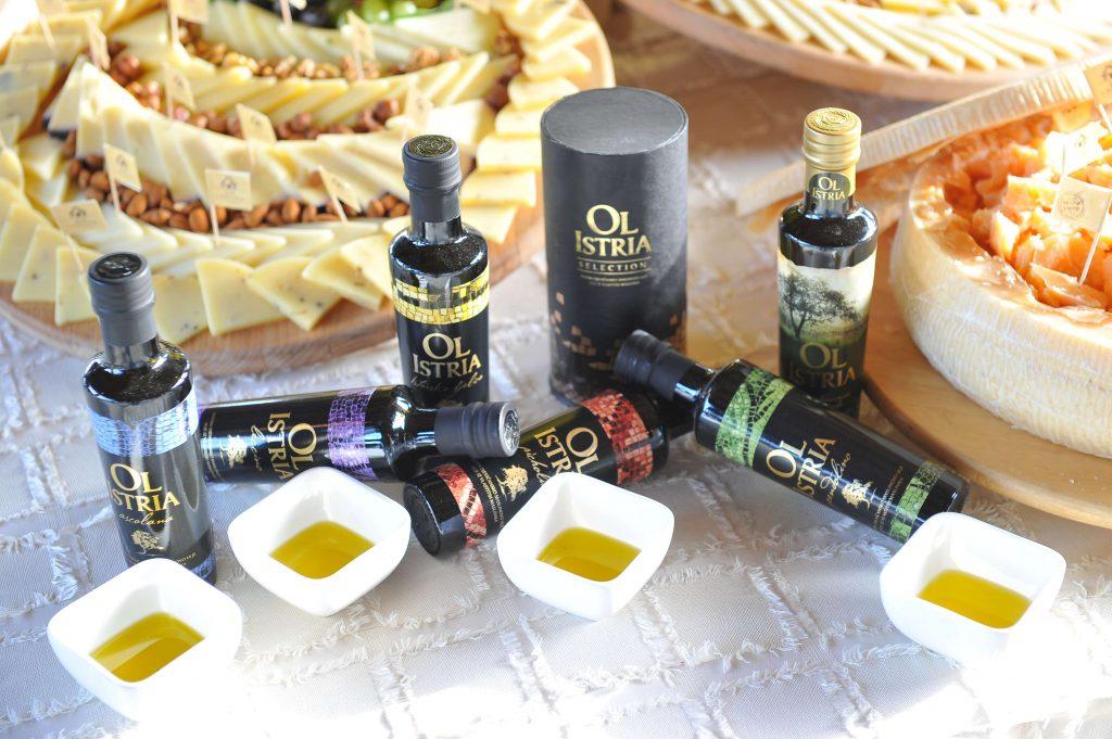 Bottles of OL Istria Croatian Olive Oil from Croatia's Istrian Peninsula, arranged for a tasting.