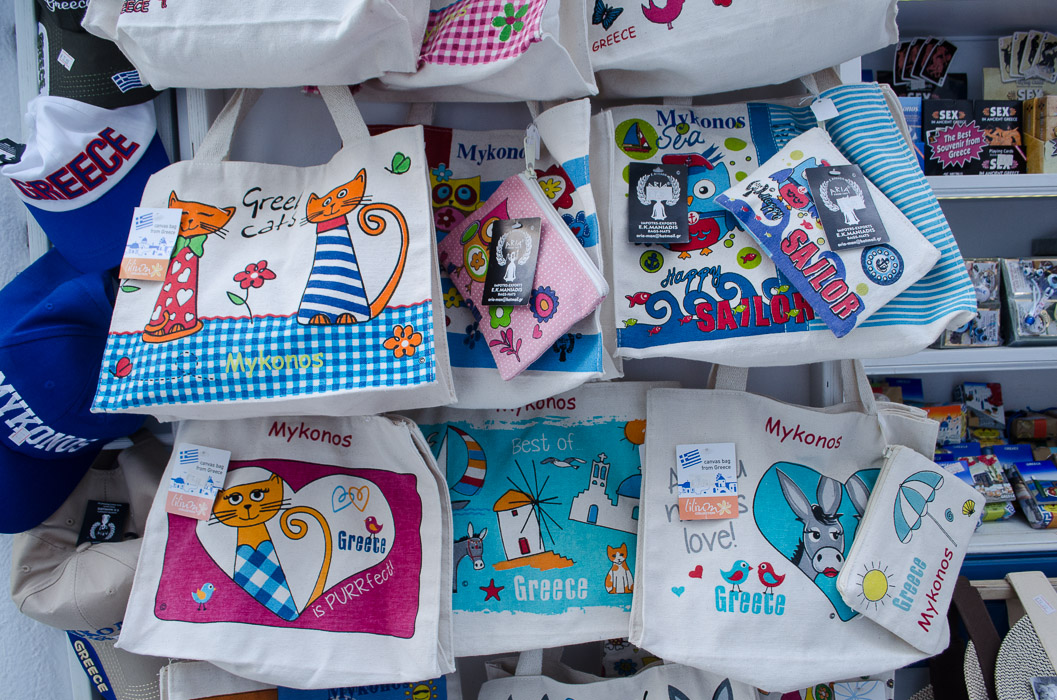 Bags decorated with cat designs in Mykonos Greece